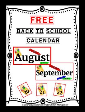 FREE Back to School Calendar Printable