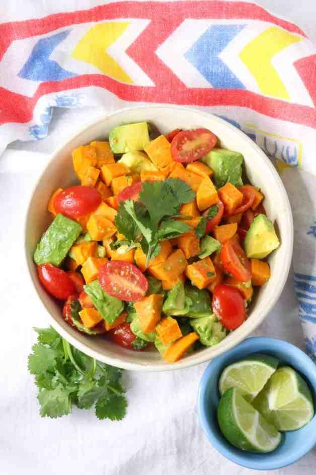Whole30 Sweet Potato and Avocado Salad #whole30recipes #sweetpotatosalad
