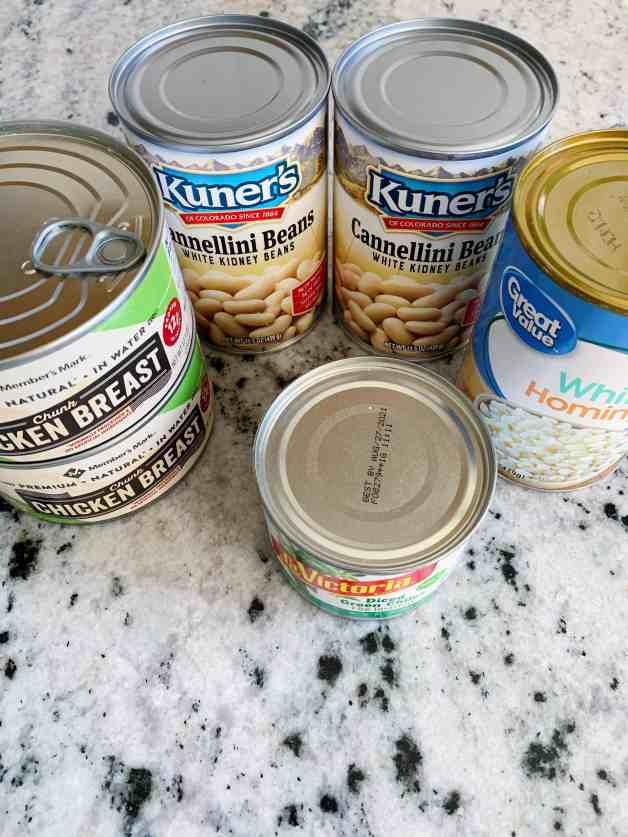 Canned products for white chili #whitechickenchili #pantrywhitechickenchili #easiestchickenchili