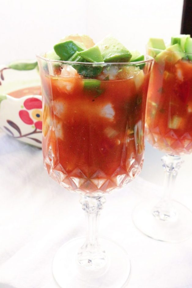 Close up of Mexican shrimp cocktail #cocteldecamarones #whole30recipes #shrimpcocktail #whole30mexicanrecipes