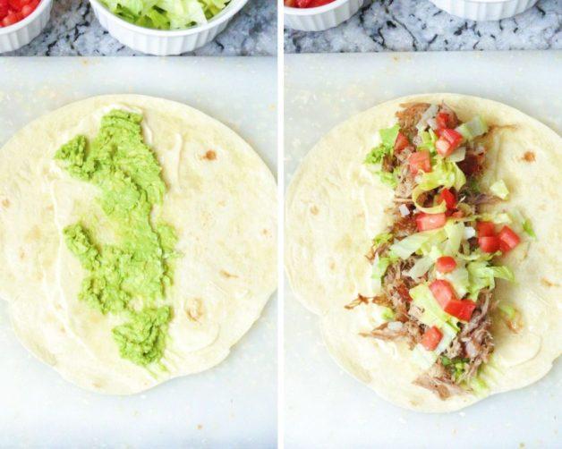 Assembling pork burritos #porkburritos #mexicanfood #porkandavocadoburritos