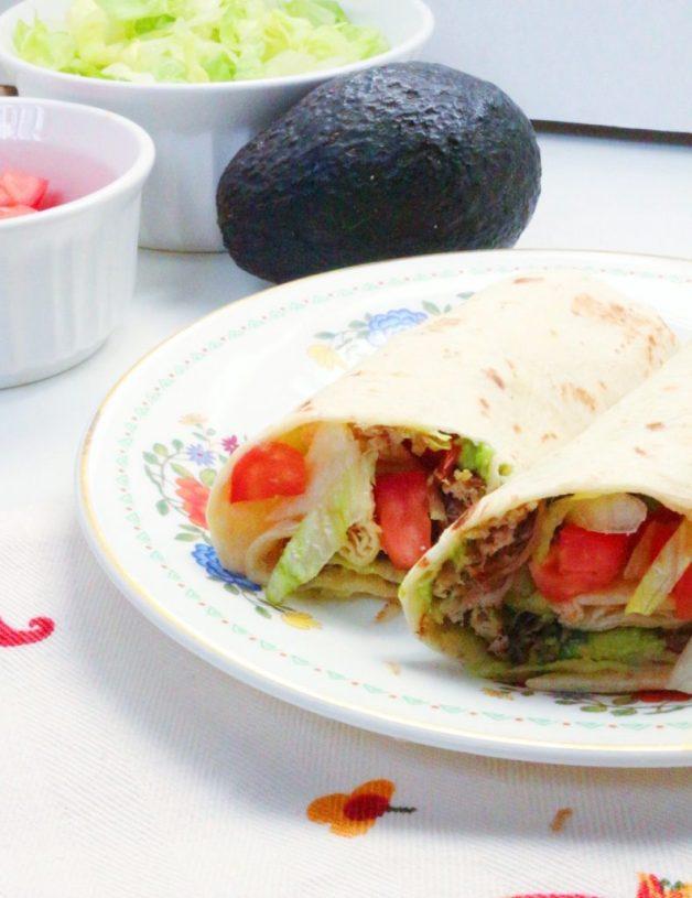 Everyday Shredded Pork and Avocado Burritos #porkburritos #mexicanfood #porkandavocadoburritos