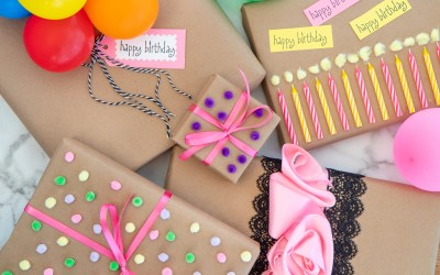 BIRTHDAY GIFT WRAP IDEAS WITH KRAFT PAPER