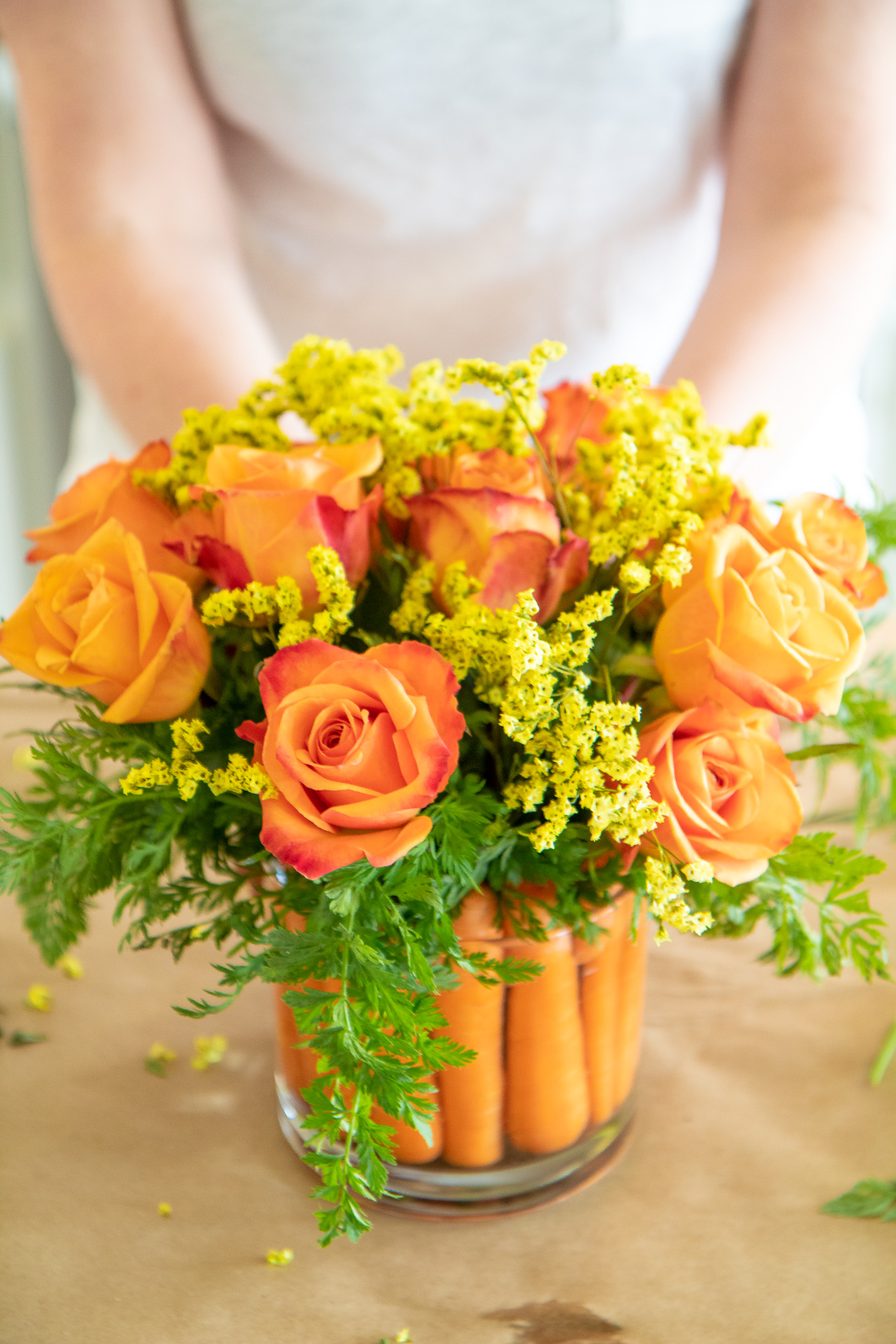 How to use carrots in a flower centerpiece