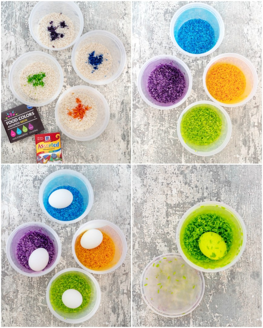 Using rice to dye Easter eggs