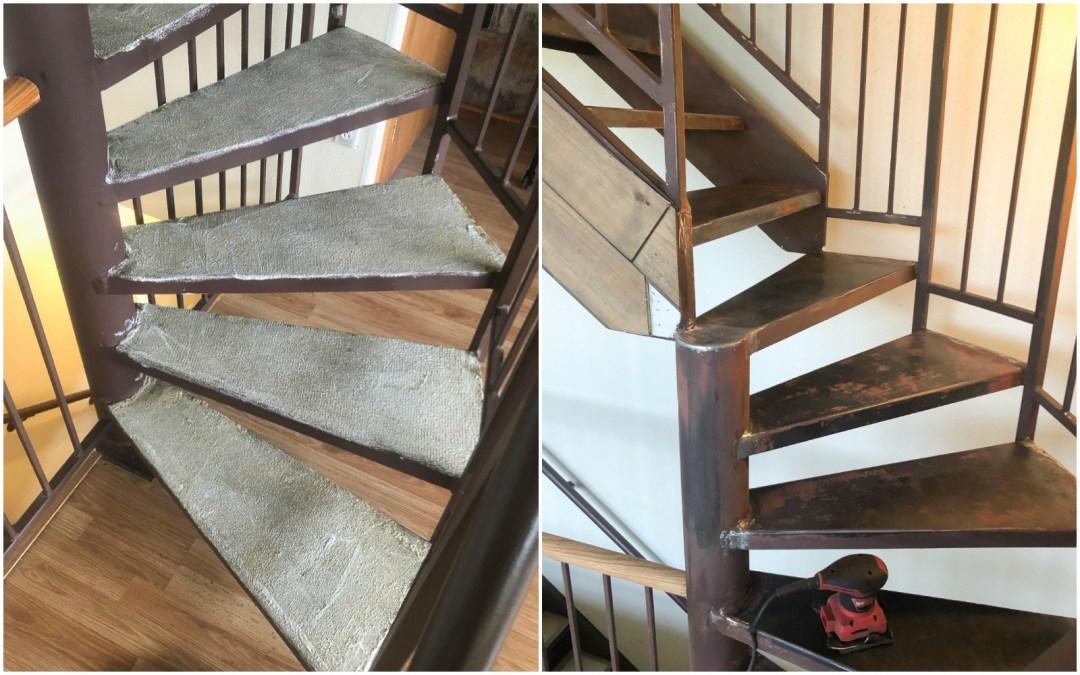 stripping carpet off metal stairs