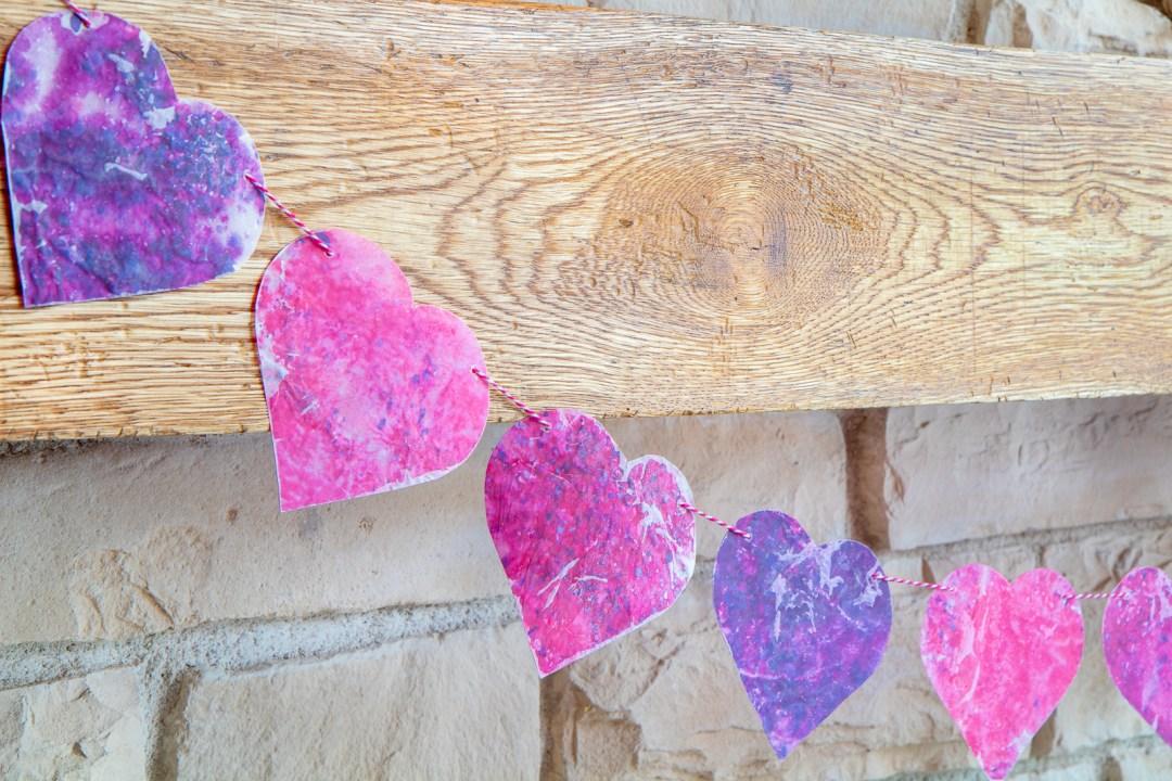 Valentines Day Crayon Wax Paper Garland