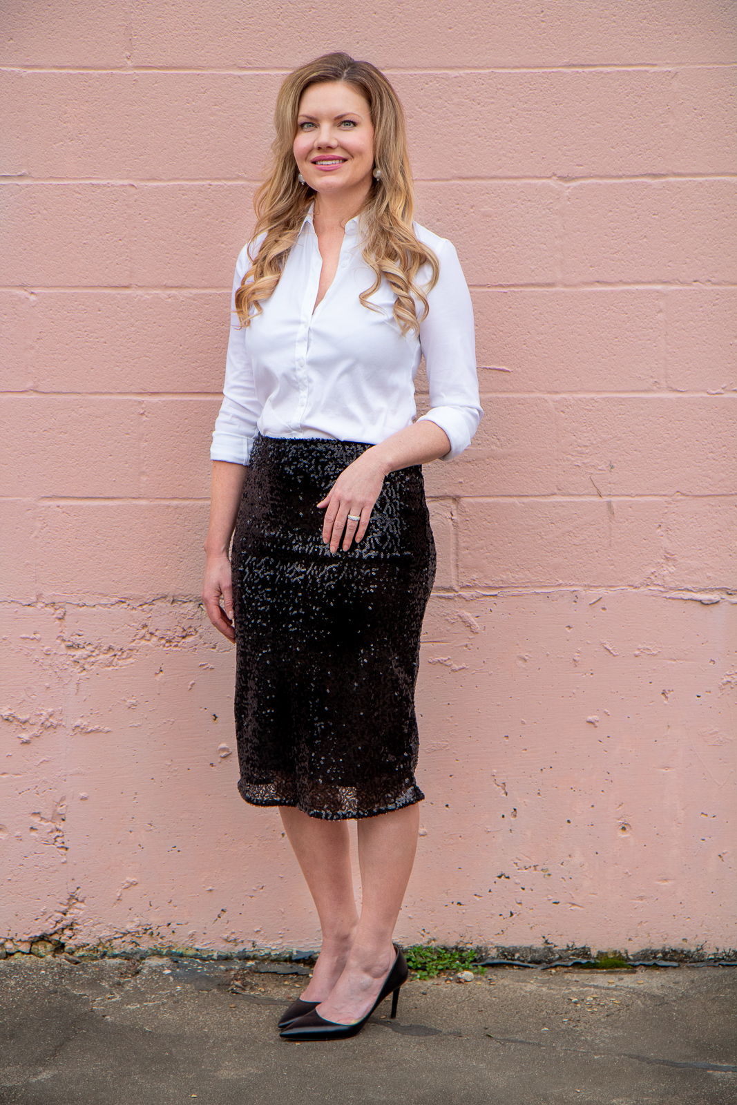 ways to wear a sequin skirt