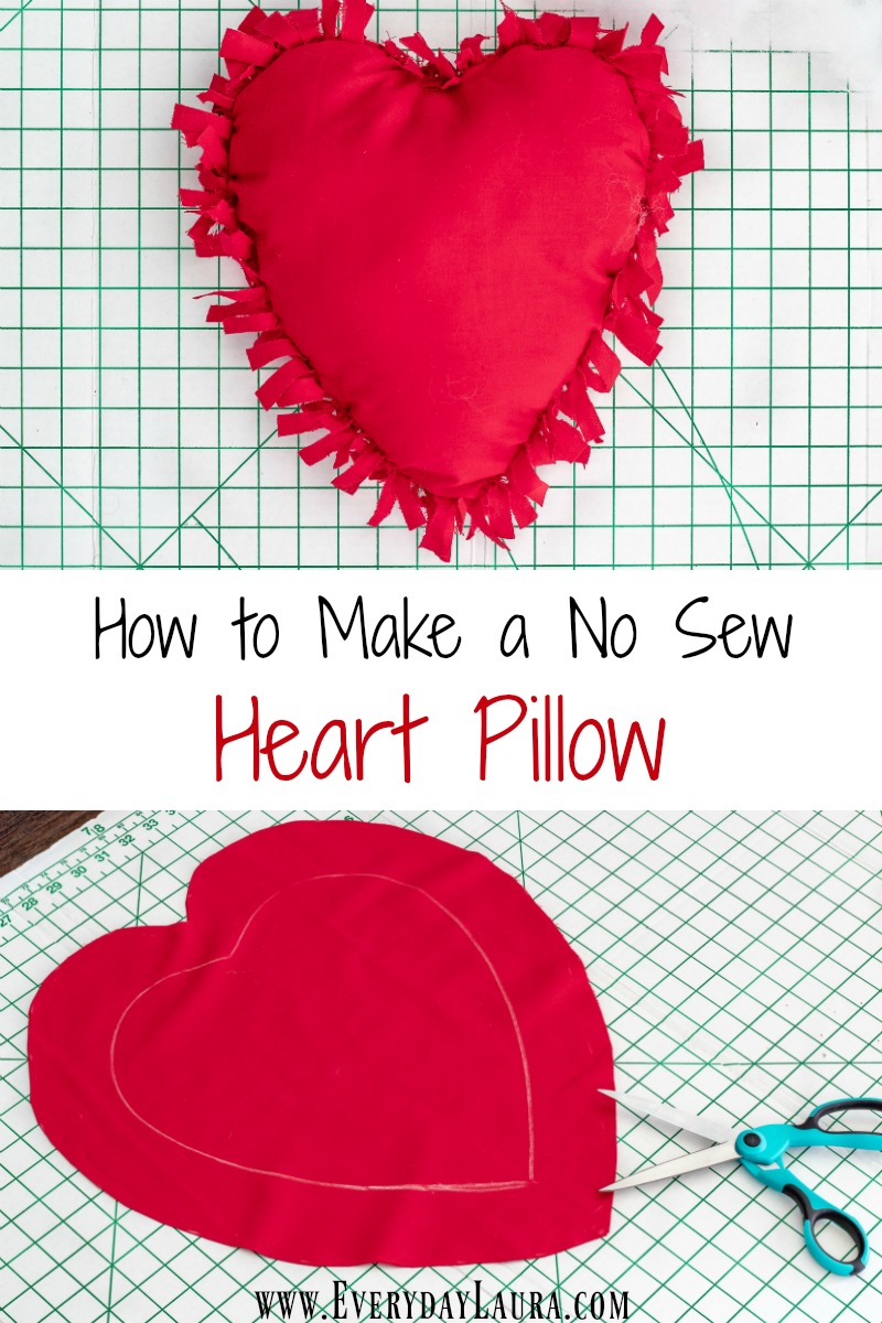 How to make a no sew heart shaped pillow for Valentine's Day.