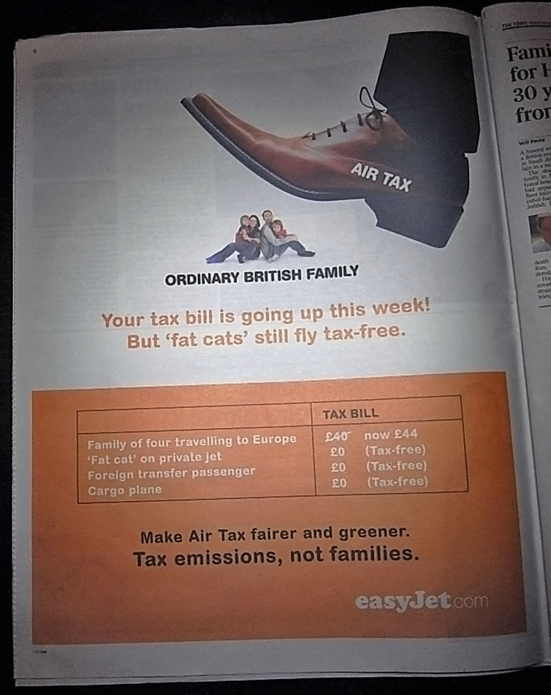 Air Tax Increase: Ad by Easyjet