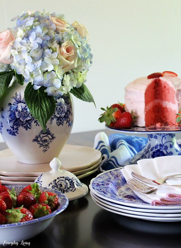 Hydrangea Rose Strawberry Centerpiece