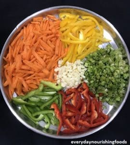 Mixed veg penne pasta ingredients