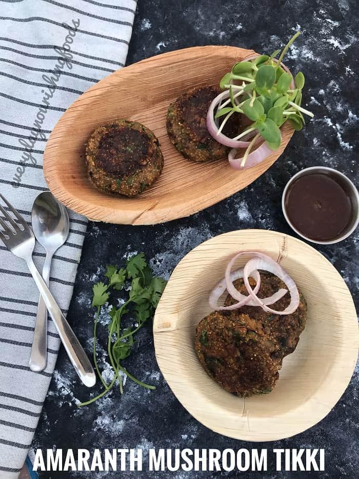 puffed amaranth mushroom patties - mushroom tikki
