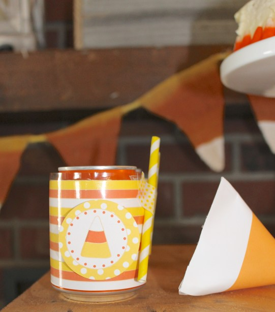 Candy Corn Halloween Celebration can wrap/favor box