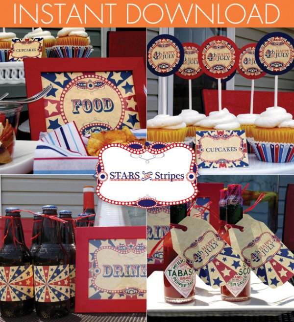 Everyday Party Magazine 4th of July Printable Roundup Squared Party Printables 4th of July Etsy