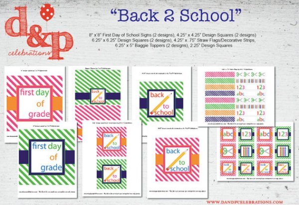 Back to School D and P Celebrations Party Printables