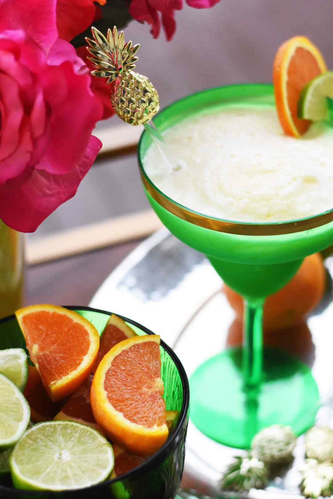 Everyday Party Magazine Pineapple Orange Frozen Margarita by Pineapple Paper Co.