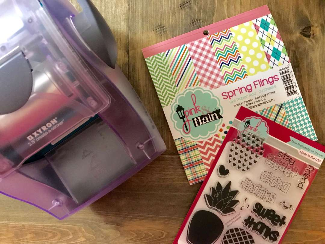 Pineapple, Summer, Gift Bag, Monogram, Stamp, Pink and Main, Xyron
