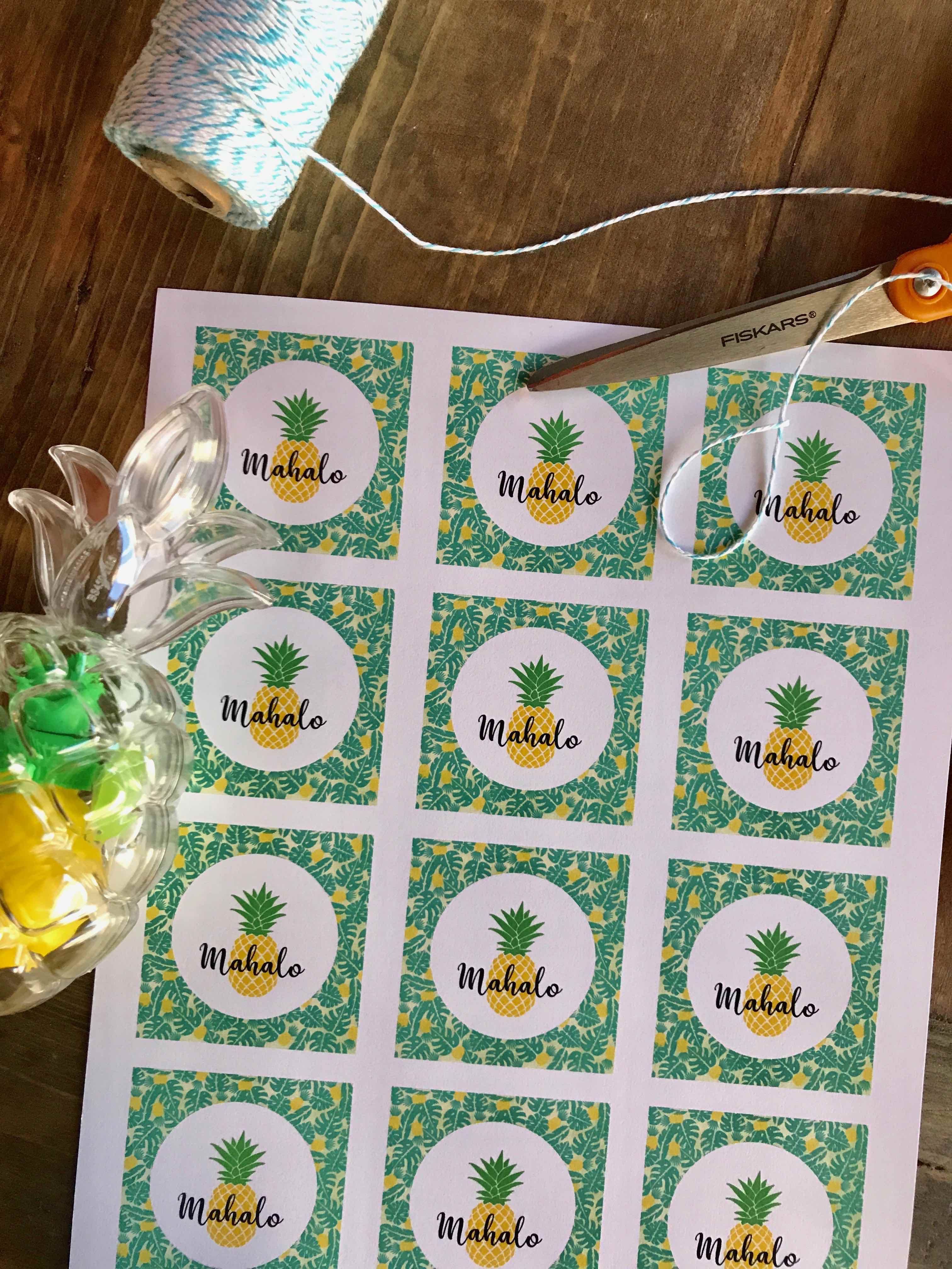 picture about Party Favor Tags Free Printable identified as Totally free Printable Mahalo Tags - Every day Bash Journal