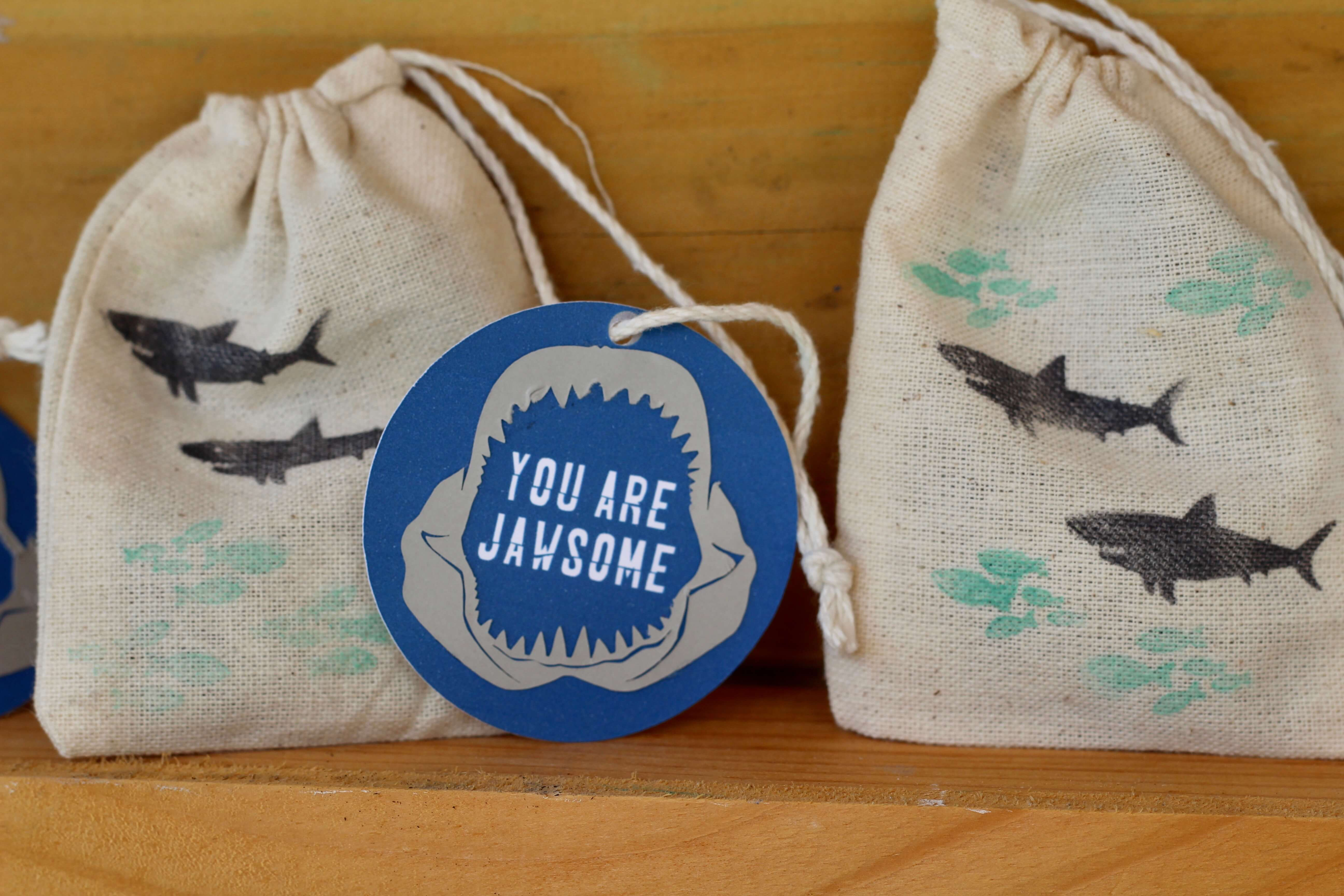 Everyday Party Magazine, Simple Shark Themed Favor Bags, Shark Week, Xyron, Stamper, DIY, Party Favor
