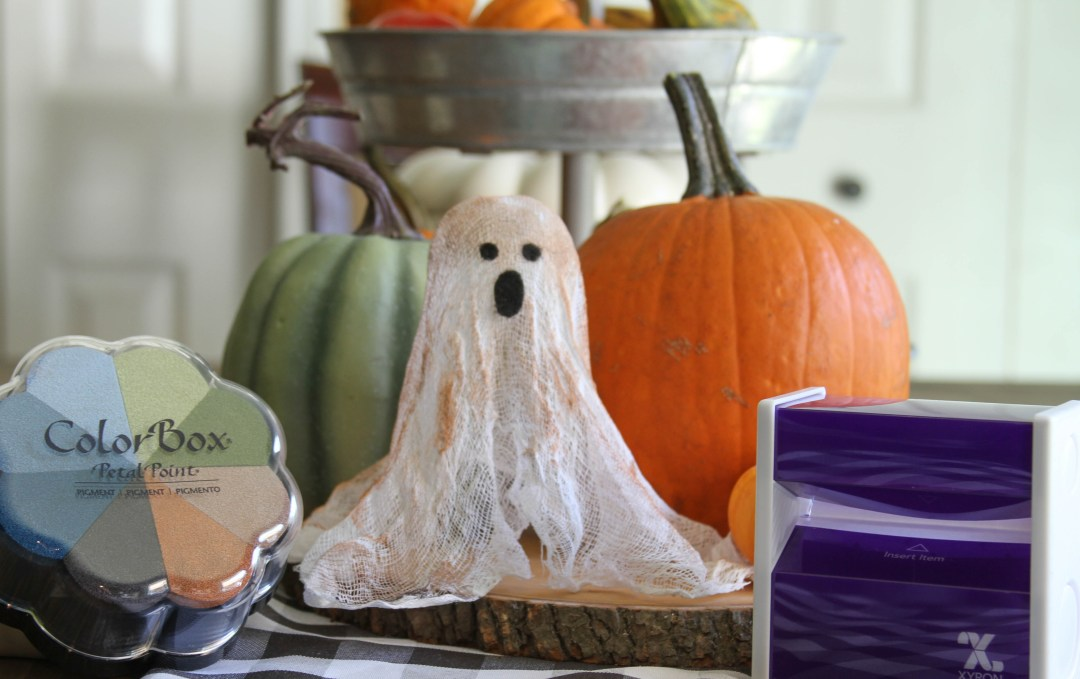 Cheesecloth ghost pumpkin stamp pad