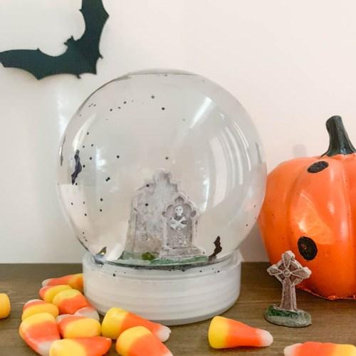 Halloween Snow Globe Bats Candy Corn