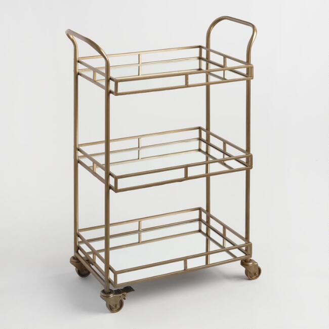 3 Tiered Gold Bar Cart