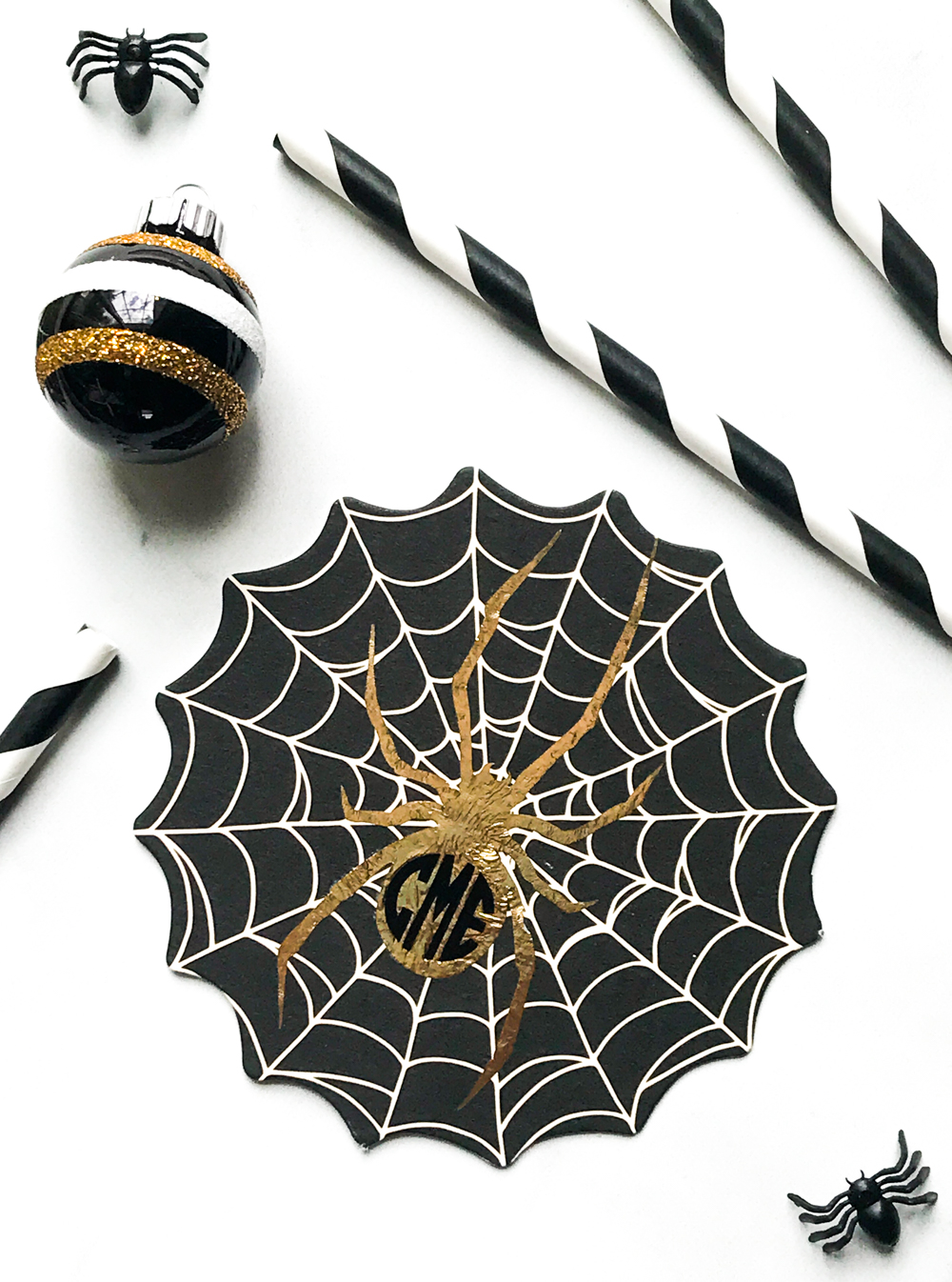 Gold Spider Coaster Halloween Decor