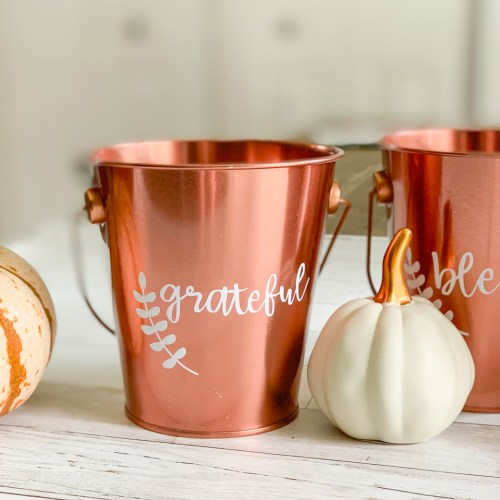 Copper Bucket with Blessed Vinyl White Pumpkins