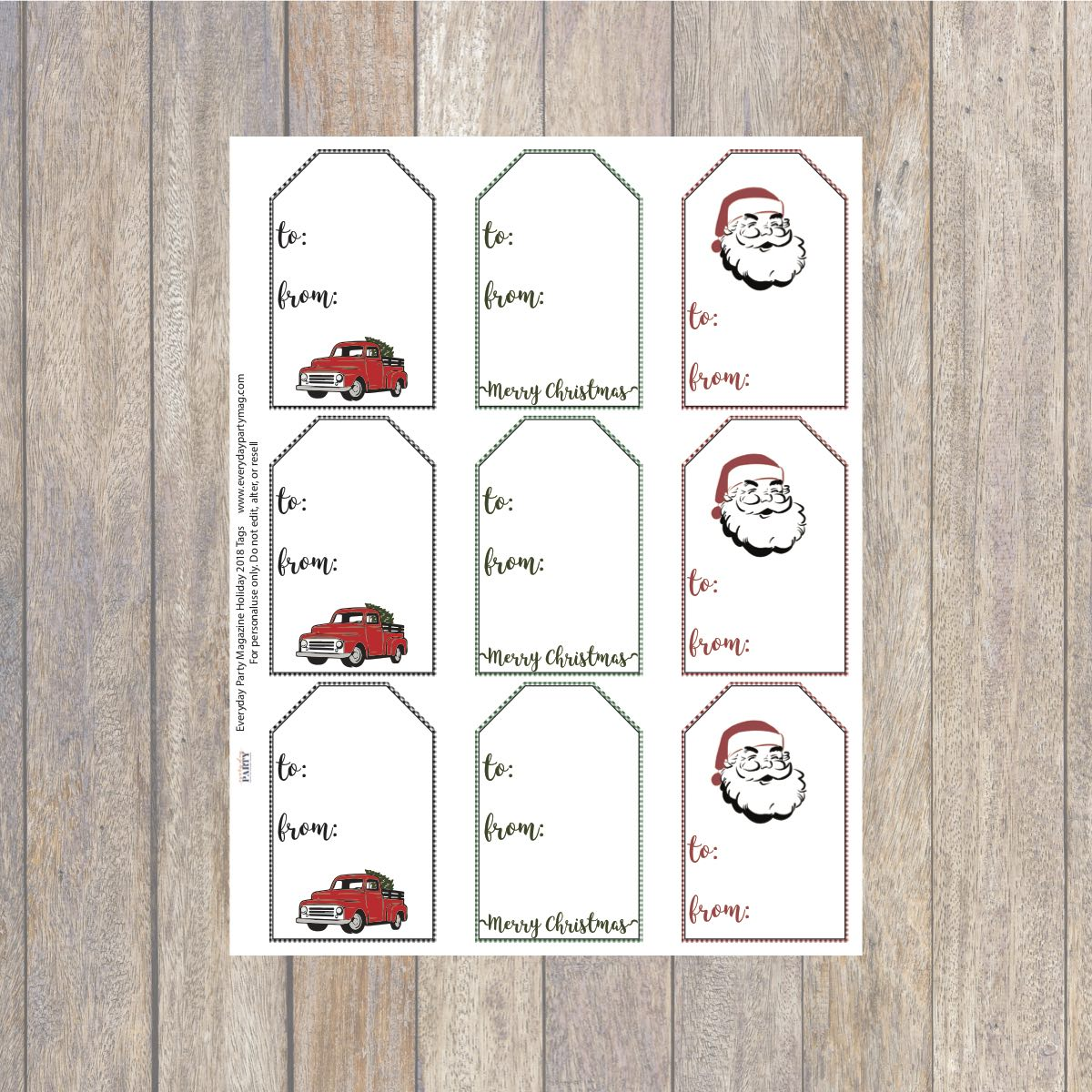photograph relating to Printable Holiday Tags named Farmhouse Printable Trip Present Tags - Daily Celebration Journal