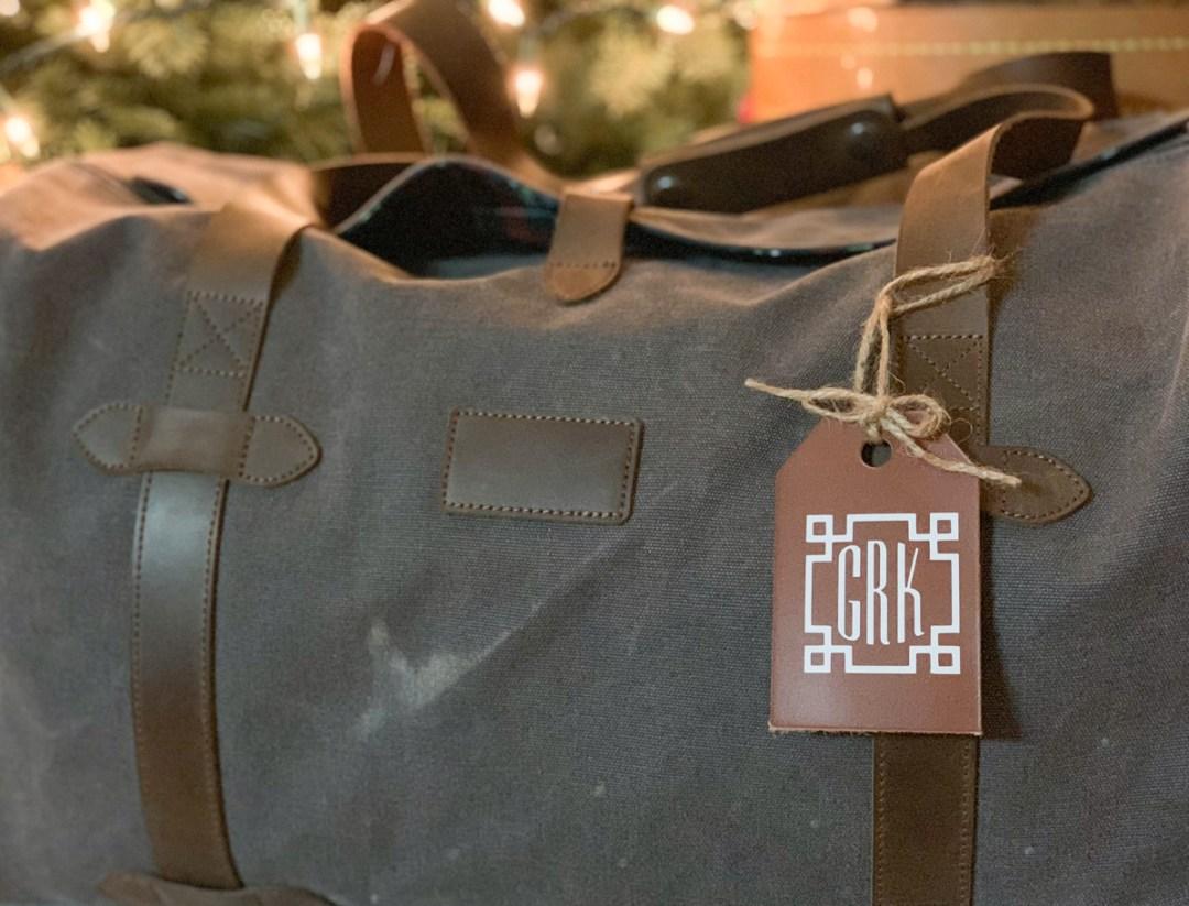 Monogrammed luggage tag luggage
