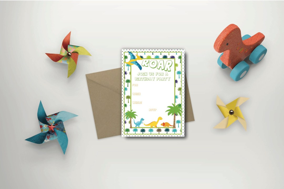 Dinosaur Party Invitation Pinwheel Dinosaur