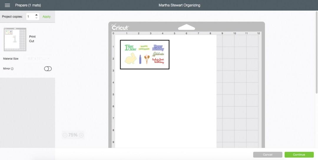Cricut Design Space Cutting Page Screen Shot