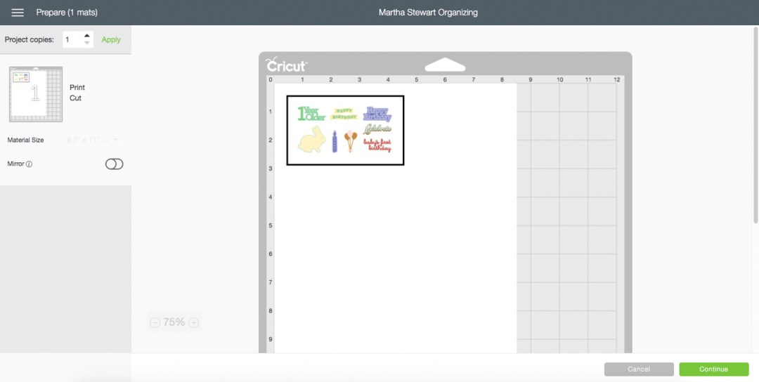 Cricut Design Space Cutting Page Screen Shot