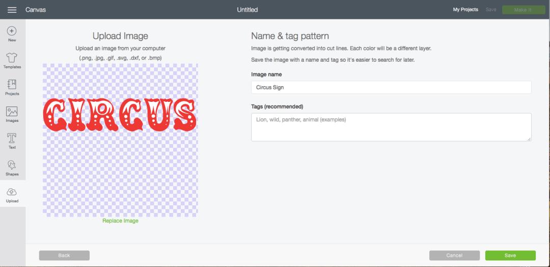 Cricut Design Space Upload SVG Screenshot