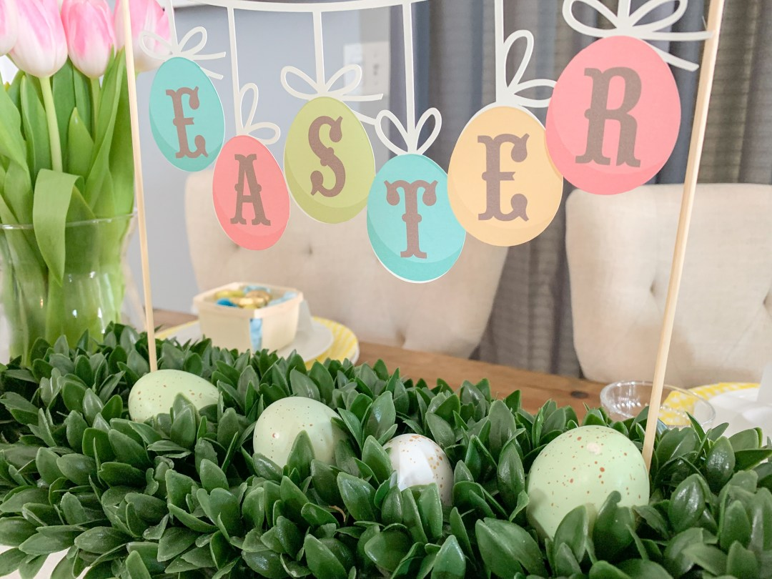 Easter Banner Boxwood Centerpiece