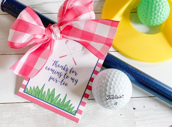 Golf Ball Golf Party Tag Gingham Bow
