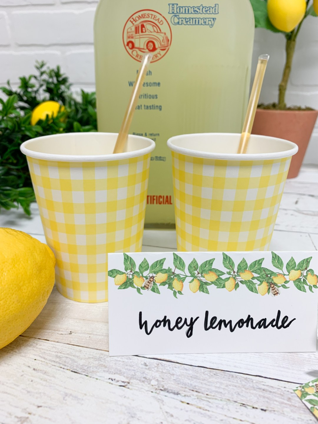 Honey Lemonade Gingham Cups Lemons