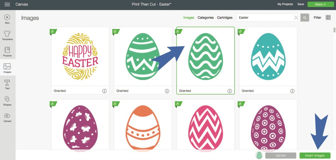 Cricut Design Space Easter Egg Screen Shot