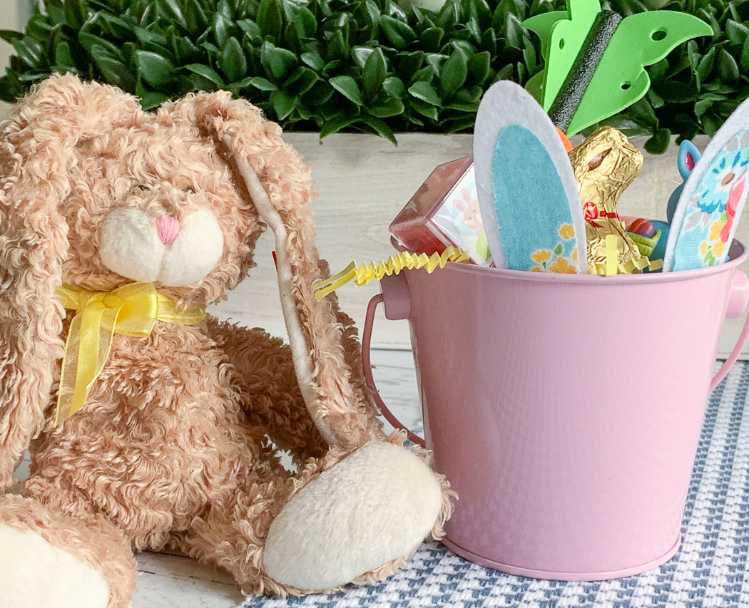 Brown Stuffed Bunny Pink Easter Bunny Bucket
