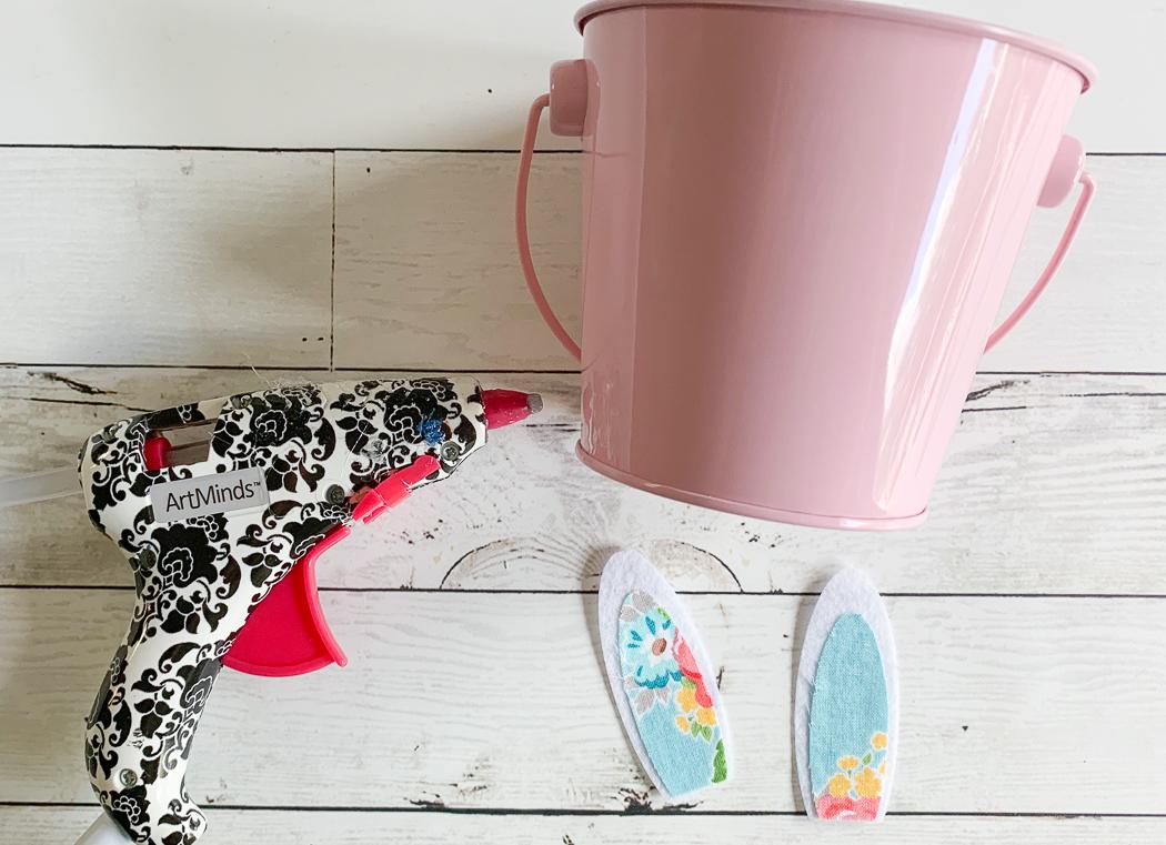 Pink Bucket Glue Gun Bunny Ears