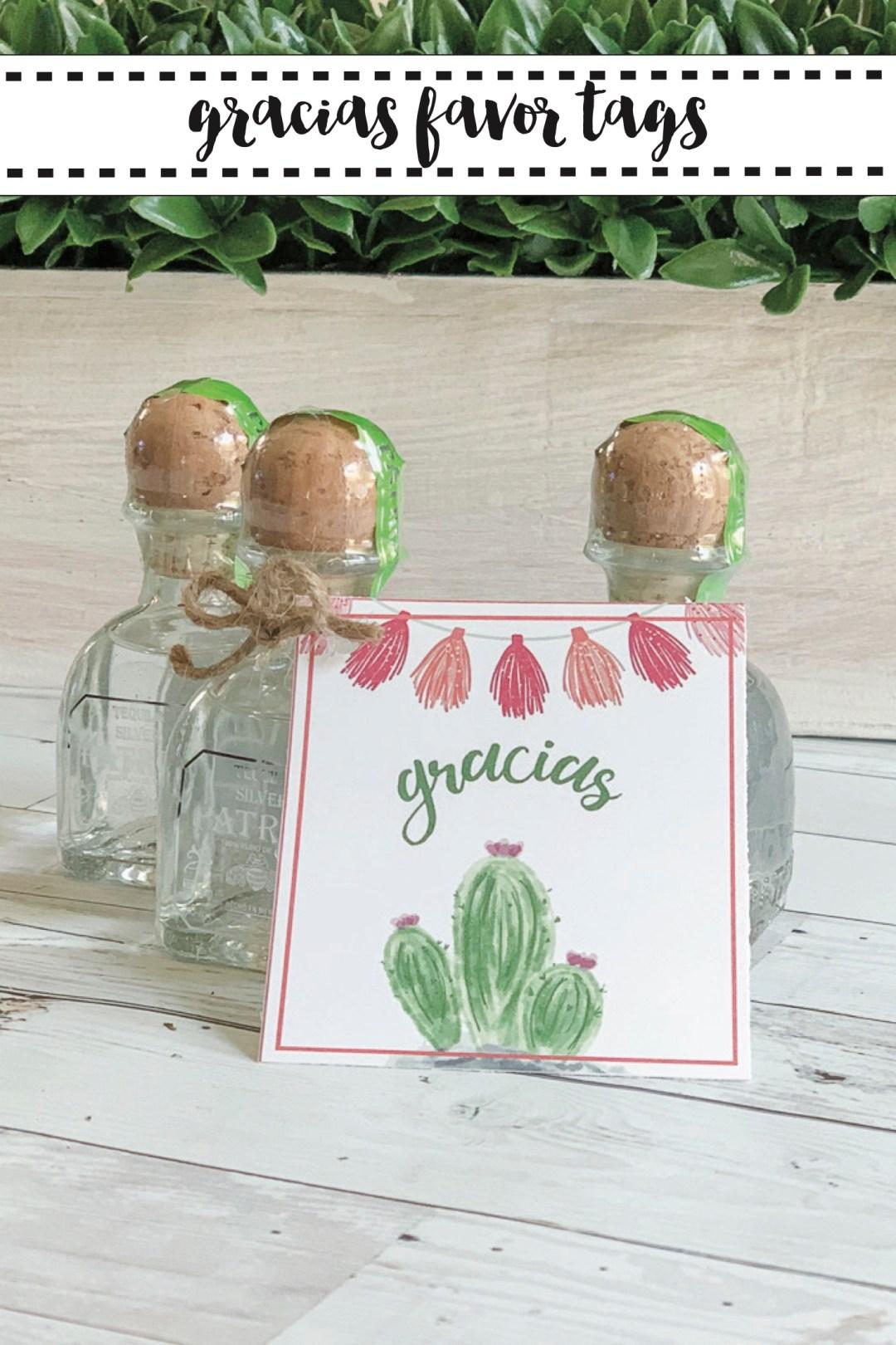 Patron Bottles Gracias Water Color Cactus Tags