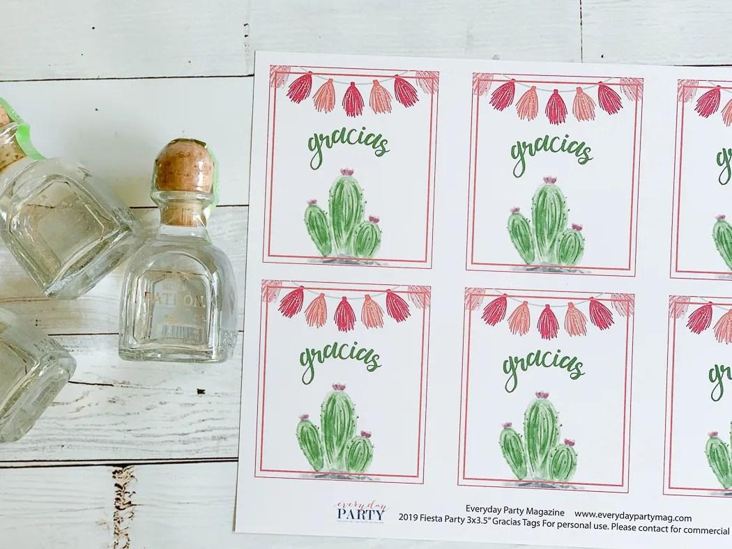 Gracias Cactus Tags Patron Mini Bottle