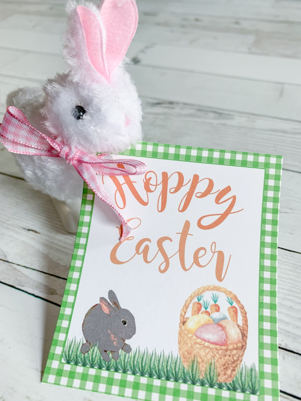 Hoppy Easter Printable Tag White Toy Rabbit