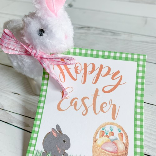 Hoppy Easter Printable Tag White Toy Rabbit