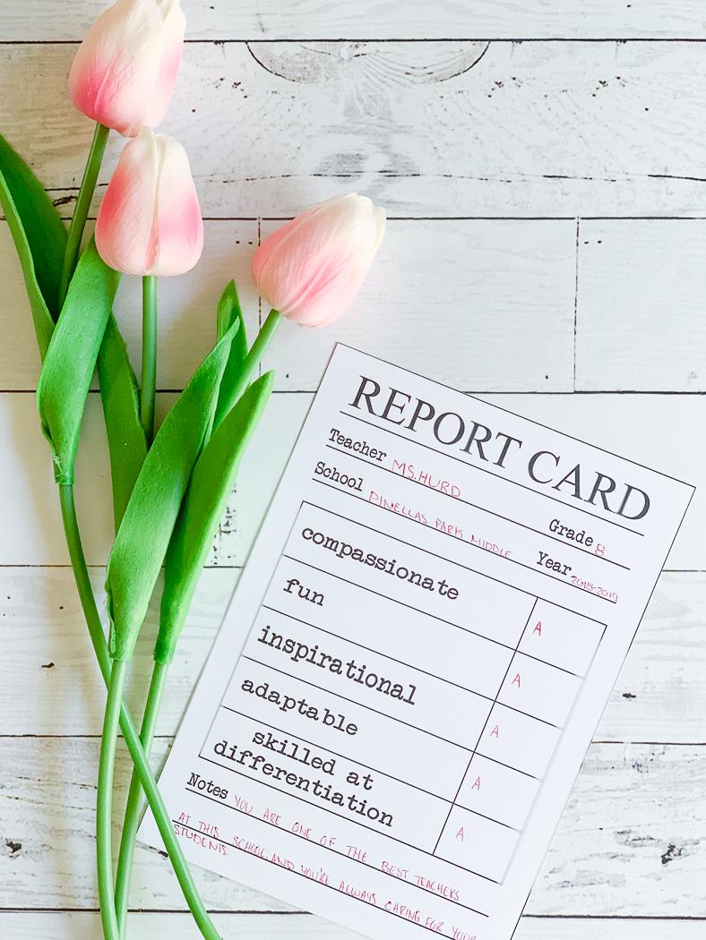 Printable Report Card Tulips Teacher Appreciation Printable