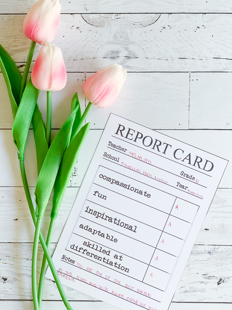 Printable Report Card Tulips Teacher Appreciation Printable