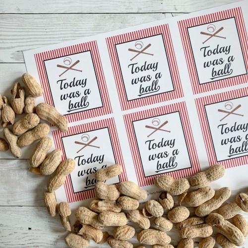 Peanuts Printable Baseball Party Tags