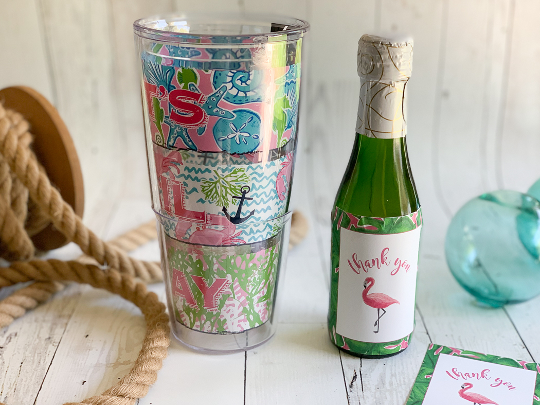 Champagne Tervis Flamingo Note Card Sea Glass Sea Rope
