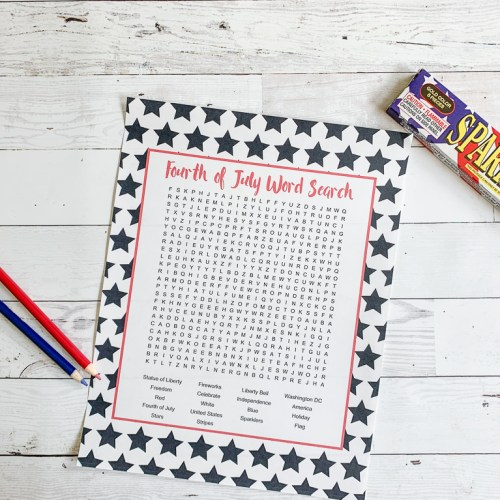 Fourth of July Word Search Sparklers Colored Pencils